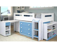 Periwinkle Low Loft Bed with Desk and Storage Twin Size