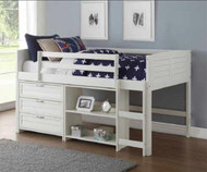 Amherst Low Loft Bed with Chest and Bookcase White