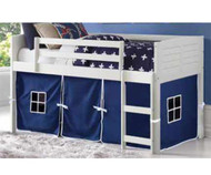 Amherst Low Loft Bed with Blue Tent White
