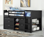 Amherst Low Loft Bed with Chests and Bookcase Ebony