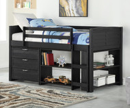 Amherst Low Loft Bed with Chest and Bookcases Ebony