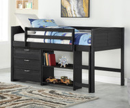 Amherst Low Loft Bed with Chest and Bookcase Ebony
