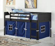 Amherst Low Loft Bed with Blue Tent Ebony