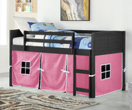 Amherst Low Loft Bed with Pink Tent Ebony