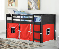 Amherst Low Loft Bed with Red Tent Ebony