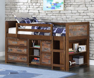 Artesian Low Loft Bed with Chests and Bookcase