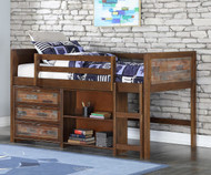 Artesian Low Loft Bed with Chest and Bookcase