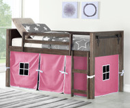 Barnum Low Loft Bed with Pink Tent