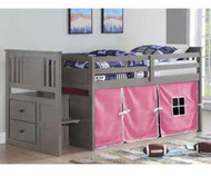 Harrington Stairway Low Loft Bed with Pink Tent