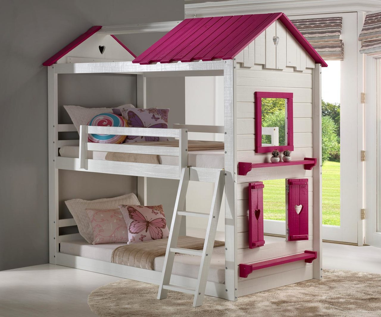 Picture of: Twin Over Twin Sweetheart Bunk Loft Bed In White And Pink Finish 1580 Ttlgb Donco Trading Solid Wood Kids Bedroom Furniture