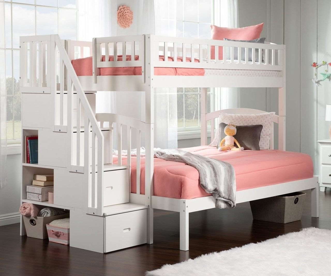 Picture of: Westbrook Twin Over Full Stair Bunk Bed White Ab65702 Atlantic Furniture Solid Wood Bedroom Furniture In White