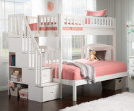 Westbrook Stair Bunk Bed Twin over Full White
