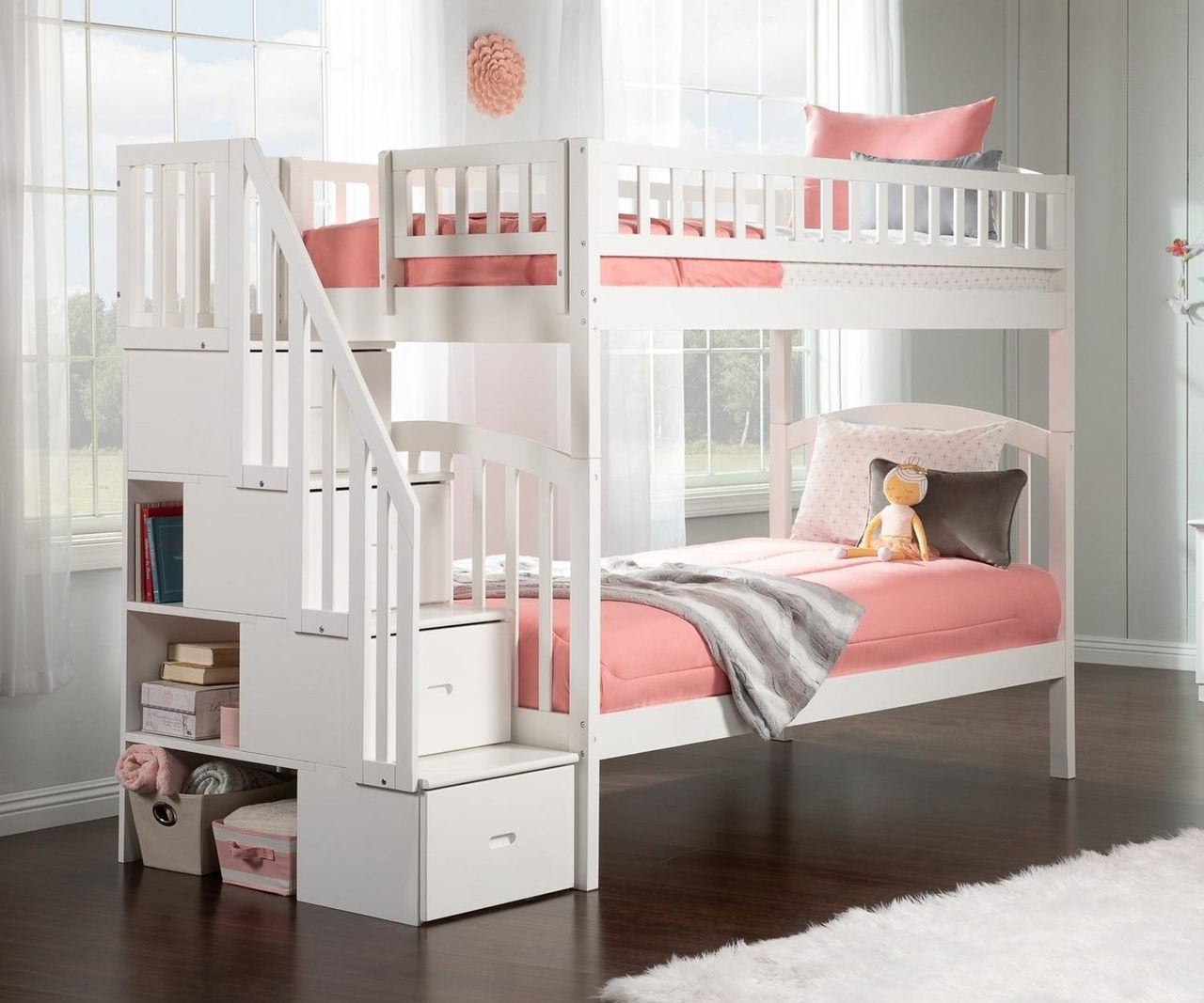 Picture of: Westbrook Twin Over Twin Stair Bunk Bed White Ab65602 Atlantic Furniture Solid Wood Bedroom Furniture In White