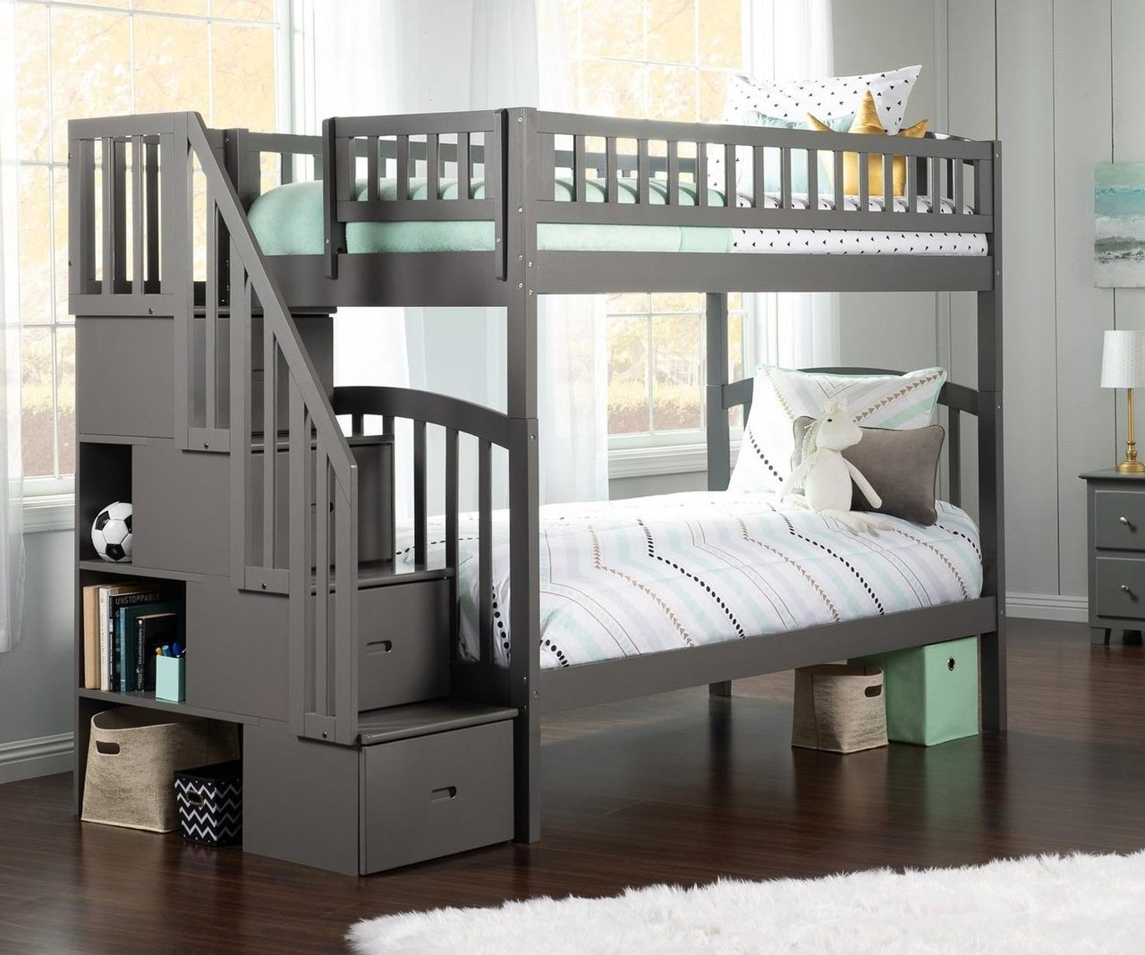 Picture of: Westbrook Twin Over Twin Stair Bunk Bed Grey Ab65609 Atlantic Furniture Solid Wood Bedroom Furniture In White