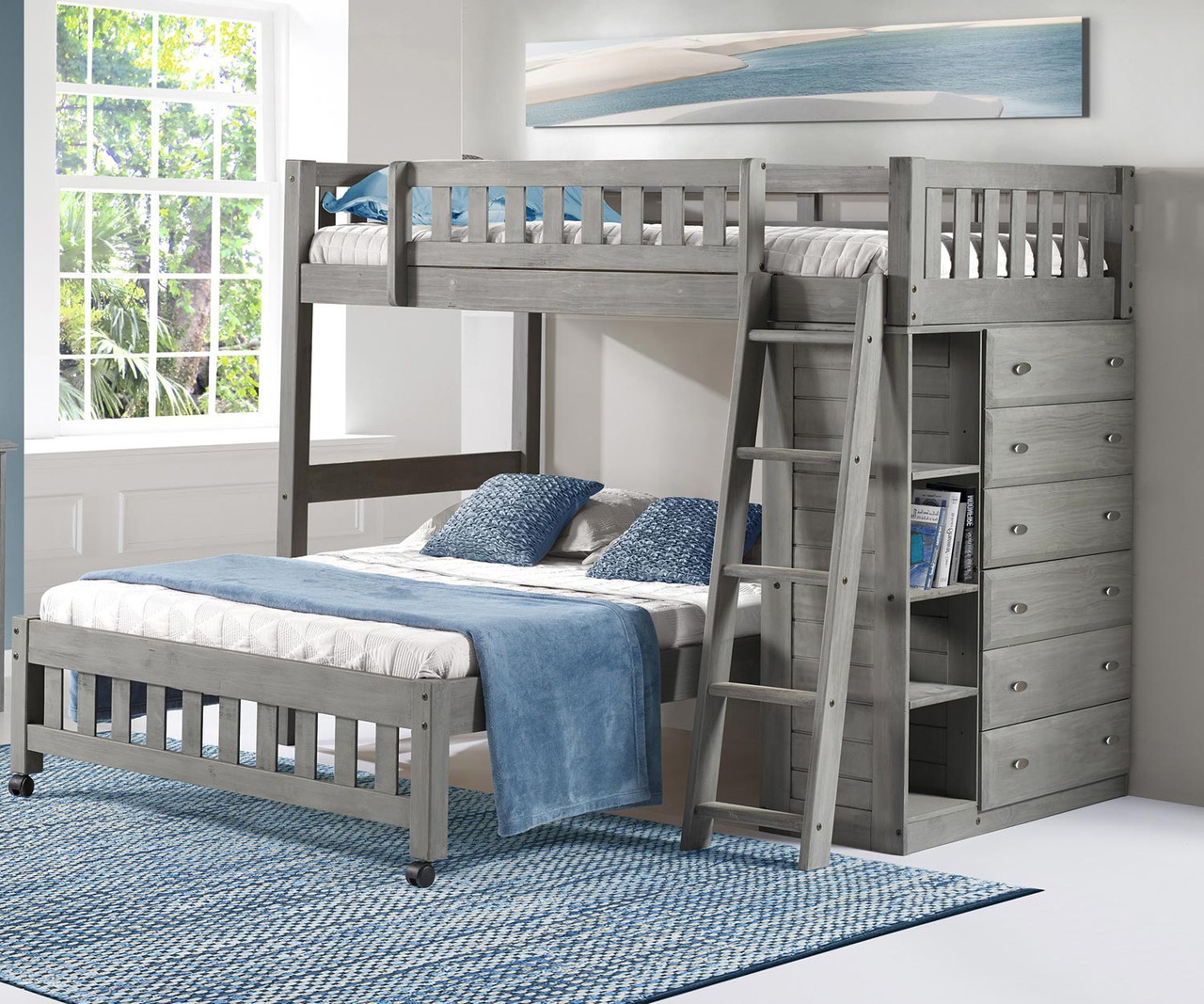 Picture of: Discovery World Furniture Westport Gray Twin Over Full Loft Bed 3205 Loft Bed For Kids And Teens With Built In Storage Drawers