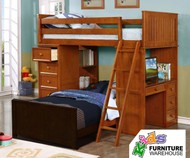 CLEARANCE Allen House Student Loft Bed Pecan - FLOOR MODEL ORLANDO LOCATION