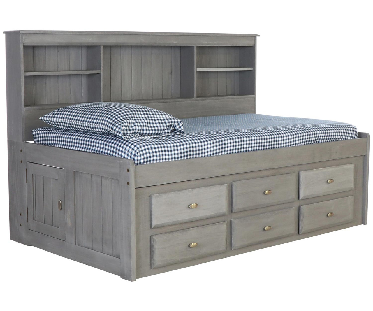 Twin Size Bookcase Captains Day Bed In Grey 3222 Kids