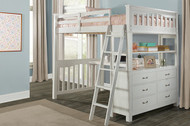 Everglades Loft Bed with Desk Full Size White