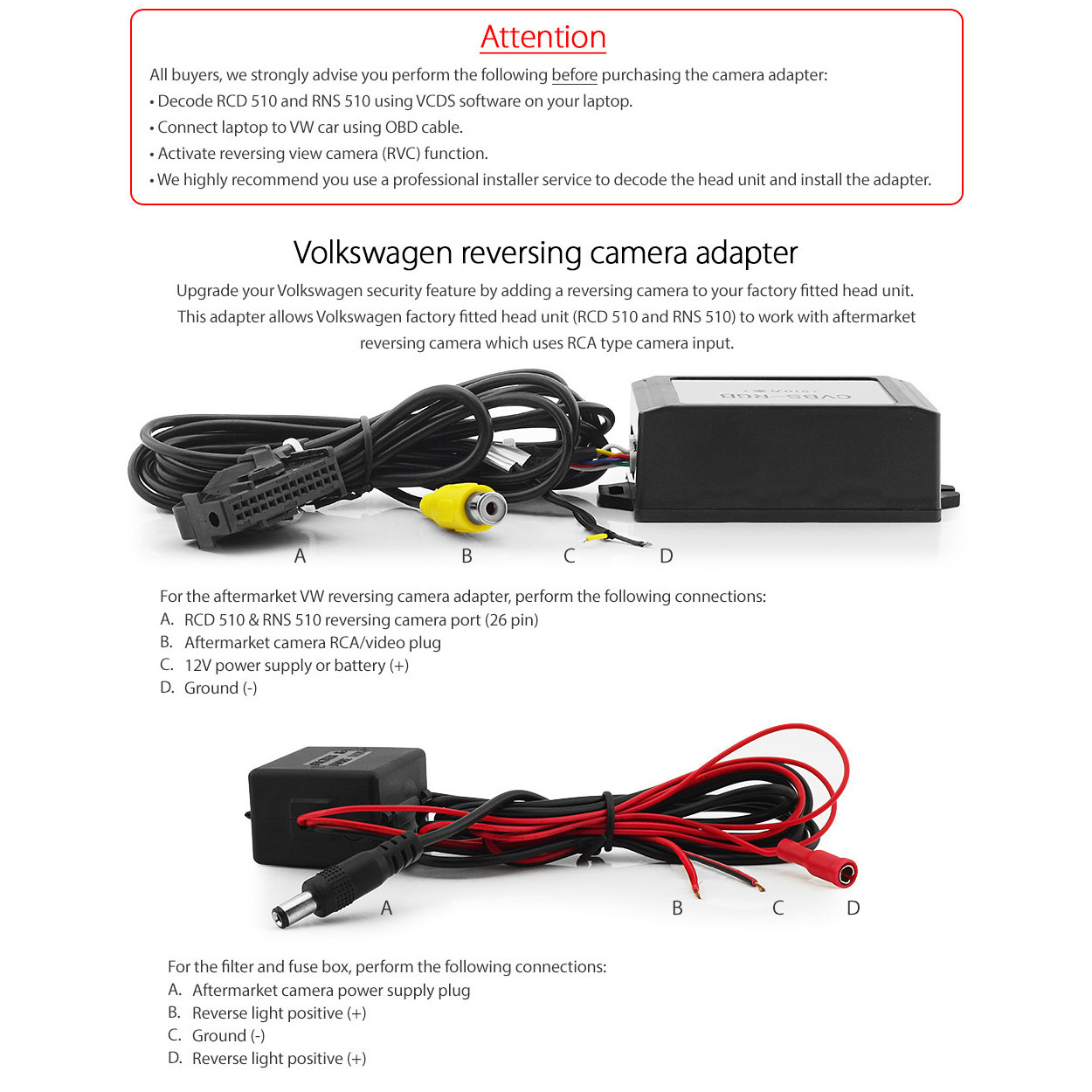 Direct Fit Aftermarket RNS510 Reversing Camera Adaptor For VW
