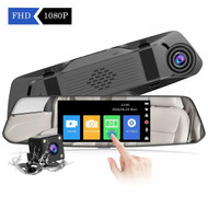 "4.8"" Mirror Mounted Touch Screen Dash Cam & Rear Camera Kit"