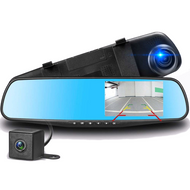 "4.3"" Mirror Mounted Touch Screen Dash Cam & Rear Camera Kit"