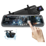 """10"""" Mirror Mounted Touch Screen Dash Cam & Rear Camera Kit"""