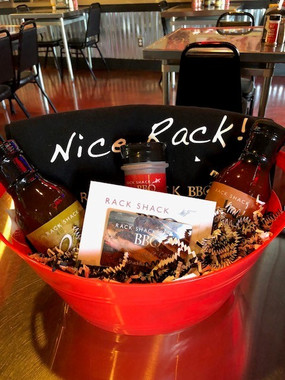 Premium Gift Basket - customize Choice of 2 Sauces, 17 Spice Rub, Shirt or Hat, $25 Gift Card Call Kelly at 651-395-1700 or email catering@rackshackbarbeque.com to place your order for pickup in the restaurant. 72 hour (3 day) notice required
