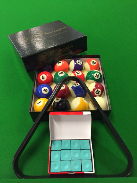 """2"""" Package - Balls, Triangle and box of chalk $45.00 Green Chalk"""