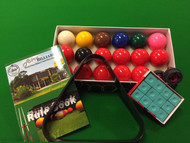 "2"" inch SNOOKER POOL BALLS, TRIANGLE, CHALK, HOLDERS & RULE BOOK PACKAGE -  Pool Snooker Billiard Balls"