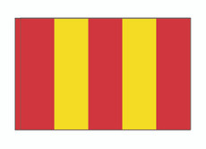 DISCONTINUED -- 2 ft x 3 ft - Split OG Red / NL Yellow - Attention 'A' Flag