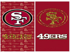 NFL San Fransisco 49ers - 29 in. x 43 in. 2 Sided Suede Glitter Flag