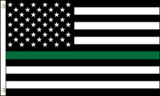 3'X5' LWP Thin Green Line American Flag