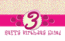 Happy Birthday Custom Girl 3x5 Pink