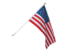 AMERICAN FLAG & SPINNING POLE SET-White pole/Gold Ball