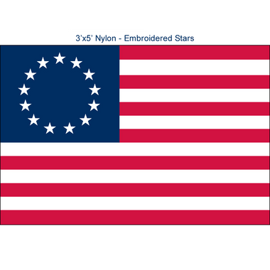 Betsy Ross Flags - 3'x5' Embroidered  Nylon