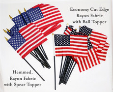 "4""x6"" Economy Cut Edge Rayon - Mini U.S. Hand Held Flag Per Doz"