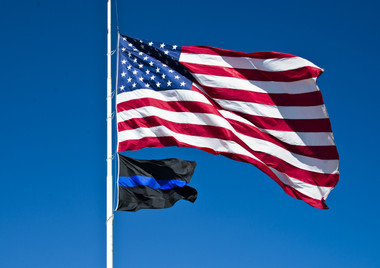 Commercial grade Thin Blue Line flag with the flag of the United States of America
