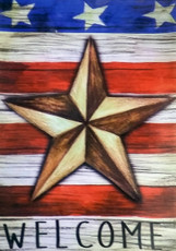 Evergreen - Suede Reflections - Patriot Barn Star 'Welcome' - Decorative House Flag