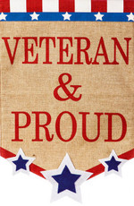 Evergreen - Veteran & Proud - Decorative Burlap House Flag