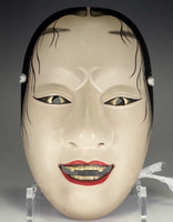 sale: ONNA MEN - Vintage Japanese Lacquered Wooden Noh Mask - #2444