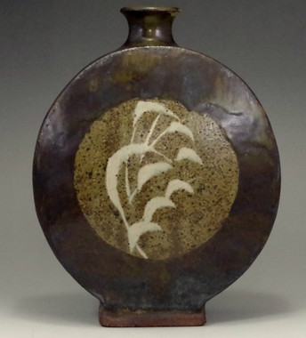 sale: Fine inlaid mashiko pottery flower vase by Shimaoka Tatsuzo #2447