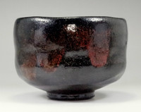 sale: Kuro raku chawan - black pottery bowl for Japanese tea ceremony by Shoraku