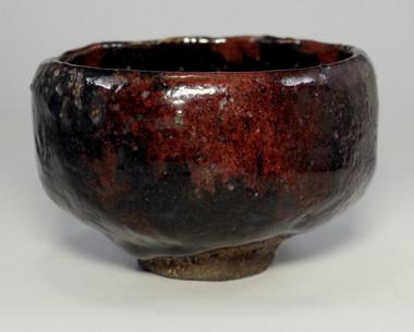 sale: Kuroraku chawan by Raku III Donyu (Nonko) - Antique black pottery tea bowl