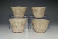 sale: Antique Japanese 4 Set of Pottery Poem Sake Cups by Otagaki Rengetsu