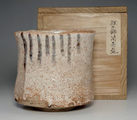 sale: Shino chawan / Antique Japanese pottery tea bowl w box