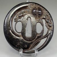 sale: Tsuba / Antique iron samurai sword guard