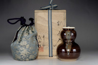 sale: Hyotan chaire / Japanese signed pottery tea caddy w wooden case