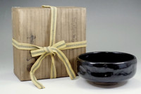 Kuro raku chawan / Japanese pottery bowl w Box by 12th Raku konyu #2675