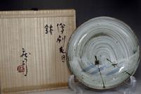 sale: Hamada Shoji / Mashiko pottery deep plate w signed box