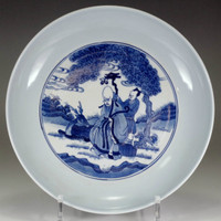 sale: Chinese blue and white plate w/ Kangxi official porcelain mark